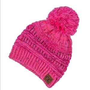 Cable knit, confetti print C.C beanie with pom